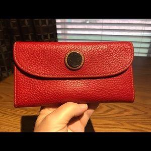 Dooney & Bourke Red Pebble Continental Wallet
